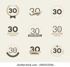 30 years anniversary logo set. 30th anniversary icons. Vector illustration.