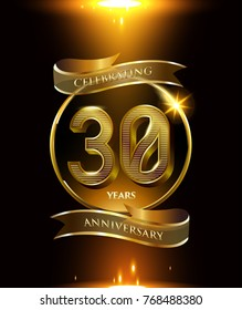 30 years anniversary logo with shiny ribbon and golden ring isolated on black background
