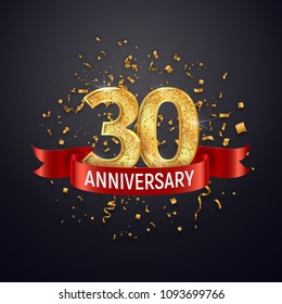 30 years anniversary logo template on dark background. Thirty celebrating golden numbers with red ribbon vector and confetti isolated design elements