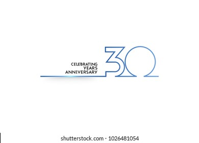 30 Years Anniversary logotype with blue colored font numbers made of one connected line, isolated on white background for company celebration event, birthday