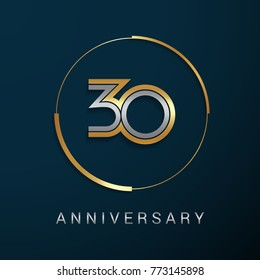 30 Years Anniversary Logotype with  Gold and Silver Multi Linear Number in a Golden Circle , Isolated on Dark Background