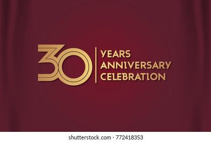 30 Years Anniversary Logotype with  Golden Multi Linear Number Isolated on Red Curtain Background