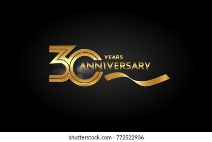 30 Years Anniversary Logotype with  Golden Multi Linear Number and Gold Ribbon, Isolated on Black Background