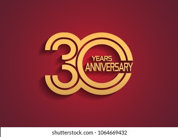 30 years anniversary logotype with linked multiple line golden color isolated on red background for celebration event