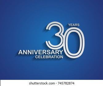 30 years anniversary logotype linked line number with silver color for celebration event isolated on blue background