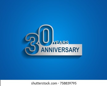 30 years anniversary logotype with outline number silver color on blue background