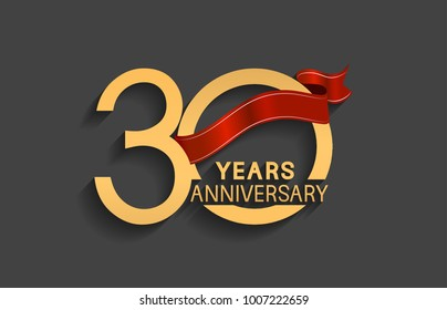30 years anniversary logotype with red ribbon and golden color for celebration event