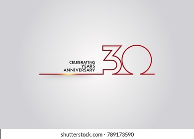 30 Years anniversary logotype with red colored  font numbers made of one  connected line, isolated on white background for company celebration event, birthday