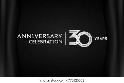 30 Years Anniversary Logotype with   Silver Multi Linear Number Isolated on Dark Background