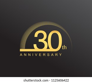 30 years anniversary logotype with single line golden color and golden ring for anniversary celebration