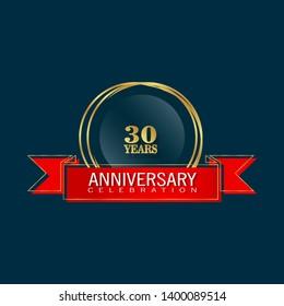 30 years anniversary - modern design celebrating. 30 years anniversary celebration simple logo. ribbon,balloon, gold emblem