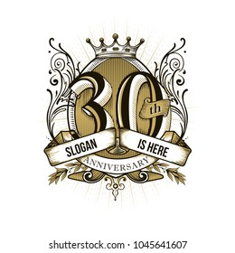 30 years anniversary number hand lettering and decoration in yellow colors. Handmade calligraphy, Vintage engraved style