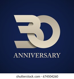 30 years anniversary paper number vector