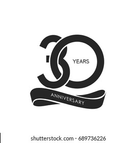 30 years anniversary pictogram vector icon, 30 years birthday logo label, black and white stamp isolated