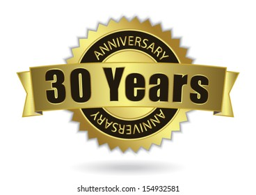 """30 Years Anniversary"" - Retro Golden Ribbon, EPS 10 vector illustration"