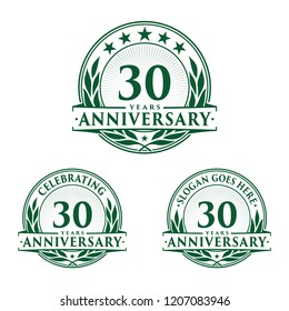 30 years anniversary set. 30th celebration logo collection. Vector and illustration.
