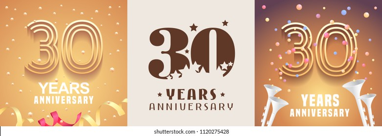 30 years anniversary set of vector icon, symbol. Graphic design element with festive golden background for 30th anniversary