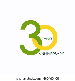 30 years anniversary, signs, symbols, which is yellow and green with flat design style