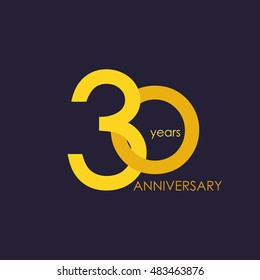 30 years anniversary, signs, symbols, which is yellow with flat design style