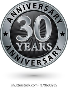 30 years anniversary silver label, vector illustration