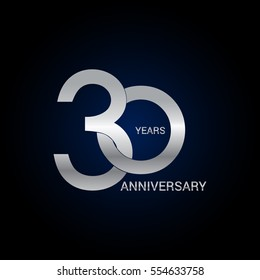 30 years anniversary silver, signs, symbols, simple logo design isolated on dark background