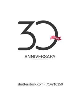 30 Years  Anniversary Simple Logo Celebration Isolated on White Background