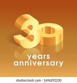 30 years anniversary vector icon, logo. Square design element with 3D golden number on isolated background for 30th anniversary