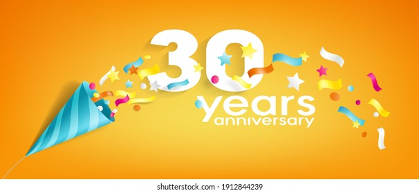 30 years anniversary vector icon, logo, greeting card. Design element with slapstick for 30th anniversary