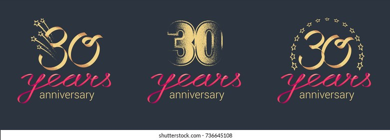 30 years anniversary vector icon,  logo set. Graphic design element with lettering and red ribbon for  celebration of 30th anniversary