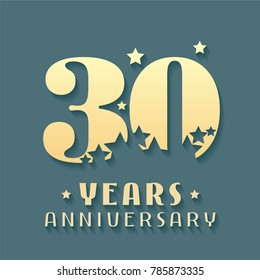 30 years anniversary vector icon, symbol, logo. Graphic design element for 30th anniversary birthday card