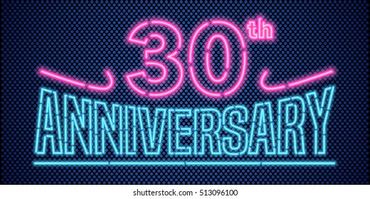 30 years anniversary vector illustration, banner, flyer, logo, icon, symbol, advertisement. Graphic design element with vintage style neon font for 30th anniversary, birthday card