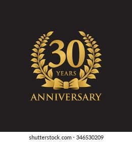 30 years anniversary wreath ribbon logo black background