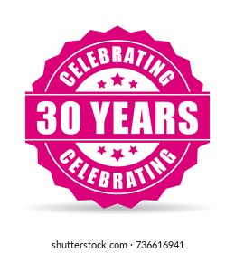 30 years celebrating vector icon on white background