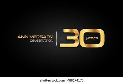30 years gold anniversary celebration logo, isolated on dark background