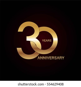 30 years gold anniversary celebration simple logo, isolated on dark background