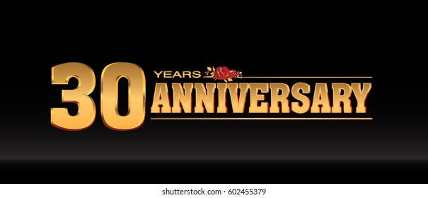 30 Years gold anniversary celebration logo, anniversary for celebration, birthday, wedding and party