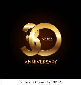 30 years gold anniversary celebration overlapping number logo, isolated on dark background