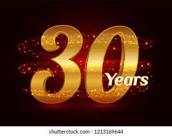 30 years golden anniversary 3d logo celebration with glittering spiral star dust trail sparkling particles. Thirty years anniversary modern design elements. Vector Illustration.