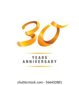 30 years golden anniversary celebration logo , isolated on white background