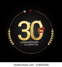 30 years golden anniversary logo with red ribbon, low poly design number, isolated on black background