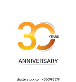 30 Years Golden Anniversary  Logo Celebration Isolated on White Background