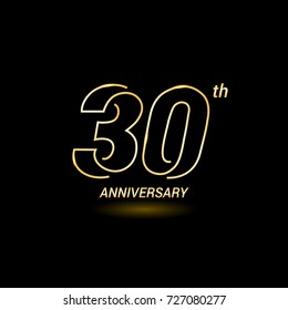 30 years golden line anniversary celebration logo design