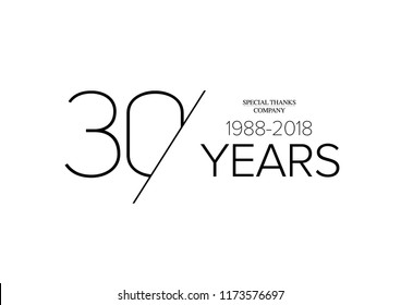 30 years old celebrating classic logo. happy anniversary 30 th. Greetings celebrates. Stylish framed digits of ages.