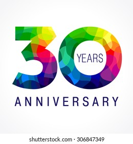 30 years old celebrating colored logo. Anniversary 30 th vector template numbers. Happy birthday greetings celebrates. Stained-glass digits of jubilee ages. Mosaic pattern figures in various colors.