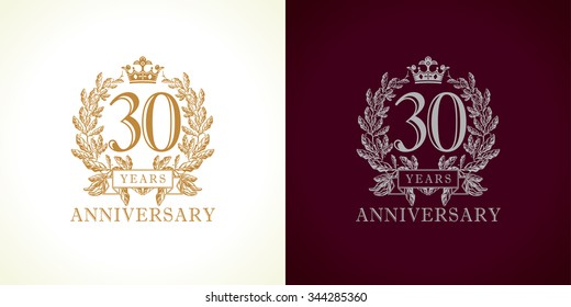 30 years old luxurious logotype. Congratulating 30th numbers gold colored template framed in palms. Isolated greetings celebrates. Celebrating traditional thirty in branches. Three, 3rd place of win.