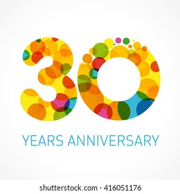 30 years old multicolored logotype. Anniversary 30th greetings, congratulations pattern template. Isolated shape numbers. Abstract colored digits of percent % off, 3th place, graphic 0, O emblem.