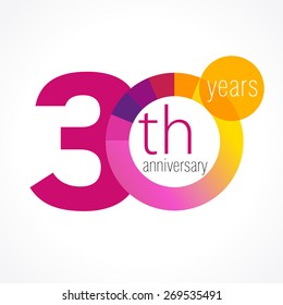 30 years round logo. Anniversary year of 30 th vector chart template medal. Birthday greetings circle celebrates. Celebrating numbers. Colorful digits. Figures of ages, cut sections. Letter O purple.