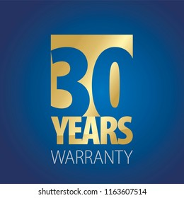 30 Years Warranty gold blue logo icon button stamp vector