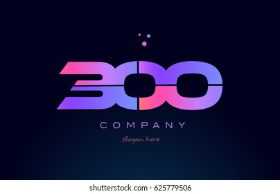 300 pink blue purple number digit numeral dots creative company logo vector icon design template