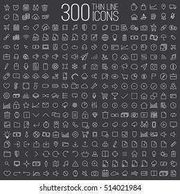 300 thin line universal icons set of finance, marketing, shopping, weather, internet, user interface, navigation, media,  on dark background